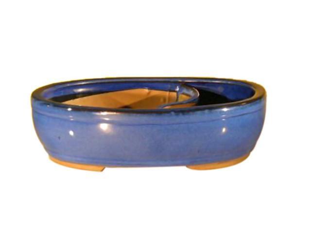 Bonsaiboy Blue Ceramic Bonsai Pot - Oval Land/Water Divider 11.25 x 9.5 x 3.0