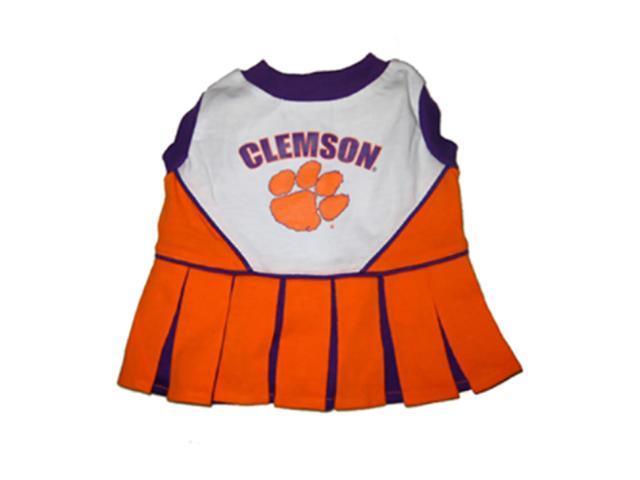 Pets First Sports Team Logo Clemson Cheerleader Dog Dress Small