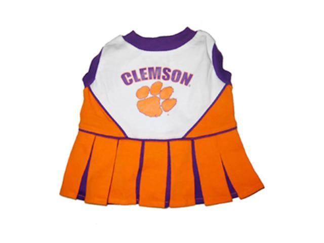 Pets First Sports Team Logo Clemson Cheerleader Dog Dress Medium