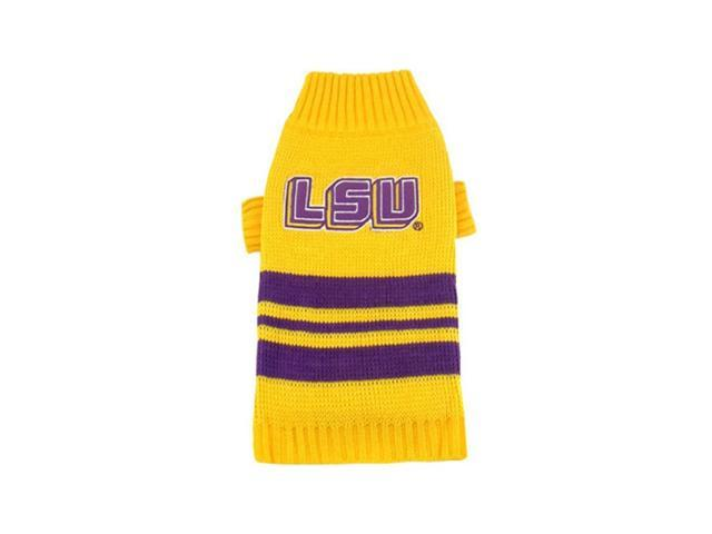 Pets First Sports Team Logo LSU Tigers Dog Sweater Medium