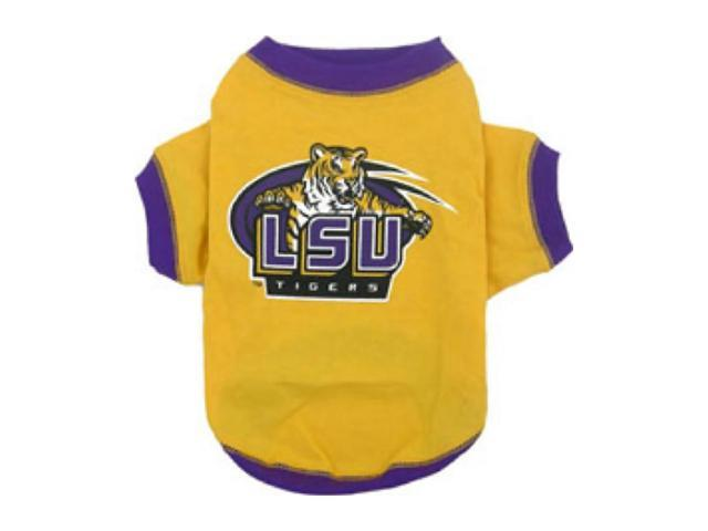 Pets First Sports Team Logo LSU Tigers Dog Tee Shirt Large