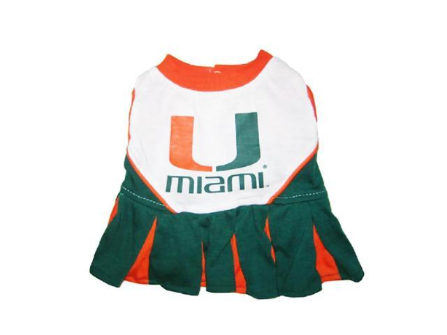 Pets First Sports Team Logo Miami Hurricanes Cheerleader Dog Dress Xtra Small