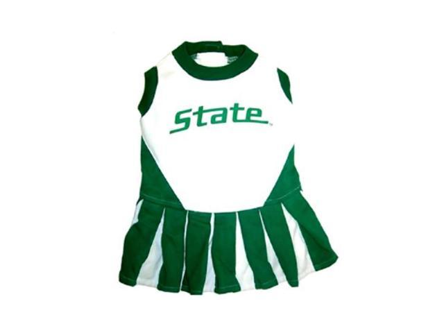Pets First Sports Team Logo Michigan State Cheerleader Dog Dress Small