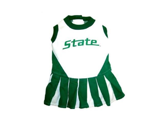 Pets First Sports Team Logo Michigan State Cheerleader Dog Dress Medium