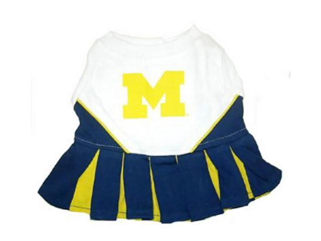 Pets First Sports Team Logo Michigan Wolverines Cheerleader Dog Dress Xtra Small