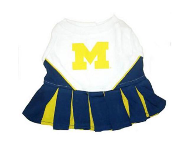 Pets First Sports Team Logo Michigan Wolverines Cheerleader Dog Dress Small