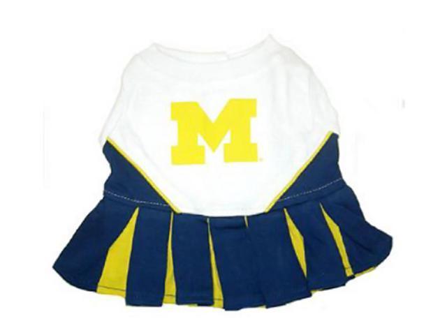 Pets First Sports Team Logo Michigan Wolverines Cheerleader Dog Dress Medium