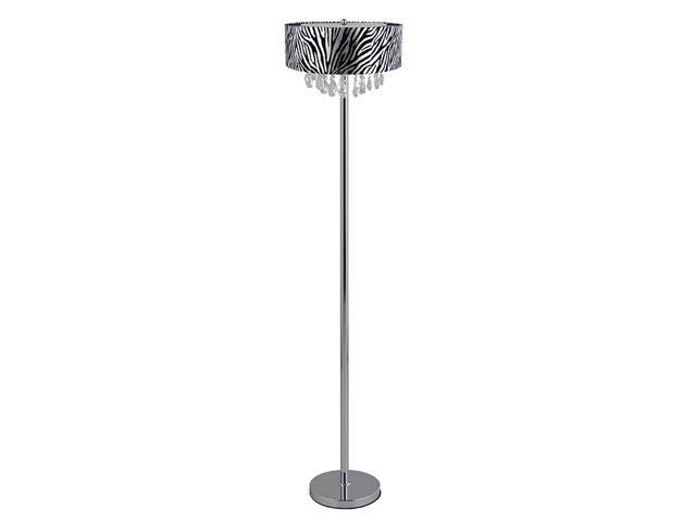 Zebra Floor Lamps : Elegant designs trendy crystal and chrome floor lamp with zebra print drum shade newegg