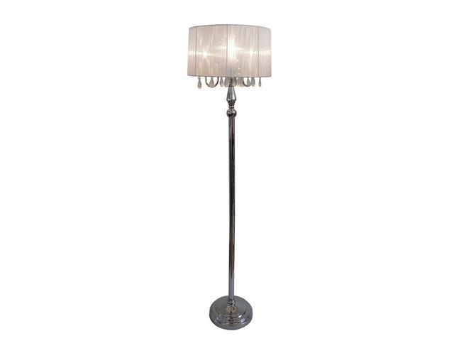 trendy sheer white shade floor lamp with hanging crystals. Black Bedroom Furniture Sets. Home Design Ideas