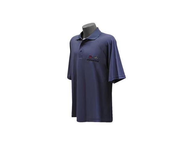 B Elite C3 Corvette Embroidered Men's Performance Polo Shirt Black Small