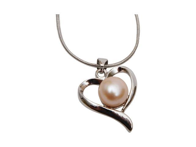 Premium Connection Elegant Cultured Pink Freshwater Pearl Heart Necklace