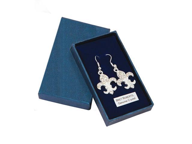 Premium Connection Girls Fashion Jewelry Crystal Fleur De Lys Earrings