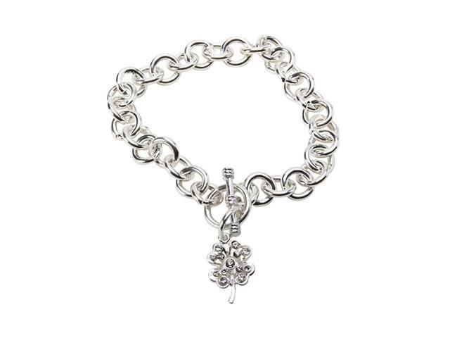 Premium Connection Elegant Steel Toggle Bracelet 4 Leaf Clover And Pou