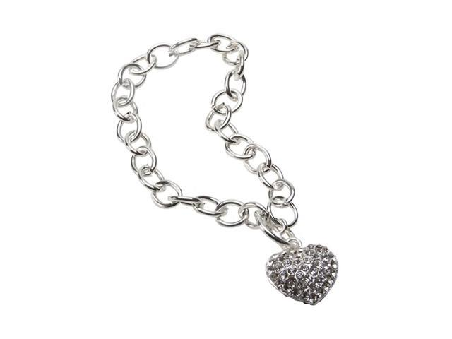 Premium Connection Girls Women Fashion Jewelry Crystal Heart Toggle Bracelet