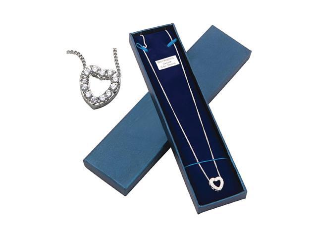Premium Connection Girls Women Fashion Jewelry Cz Necklace Heart Boxed
