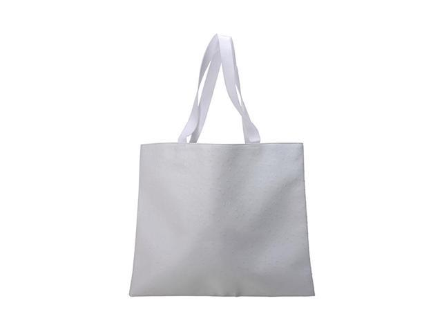 Premium Connection Outdoor Home White Faux Ostrich Bag
