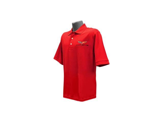 B Elite C6 Corvette Embroidered Men's Cutter & Buck Ace Polo Red- Small