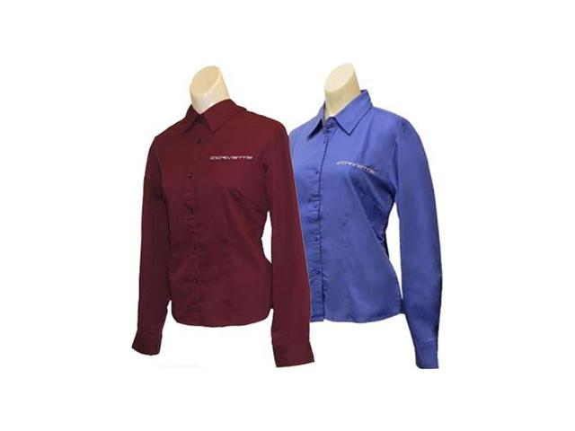C6 Corvette Script Ladies Long Sleeve Corvette Dress Shirt French Blue- Medium