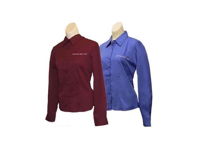 C6 Corvette Script Ladies Long Sleeve Corvette Dress Shirt French Blue- Small