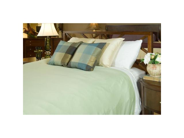 Bedvoyage Home Bedroom Decorative Duvet Cover, Twin - White / Sage [Reversible]