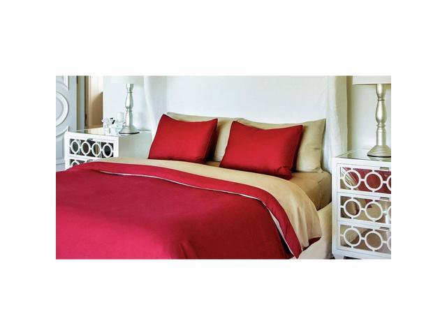 Bedvoyage Home Bedroom Decorative Duvet Cover, Twin - Champagne / Cayenne [Reversible]
