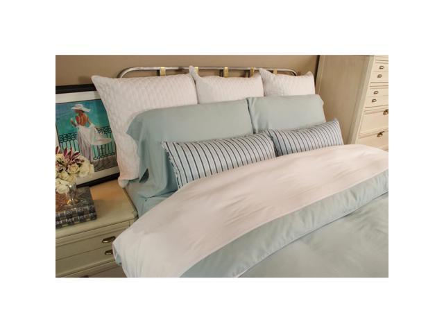 Bedvoyage Home Bedroom Decorative Duvet Cover, Full - White / Sky [Reversible]