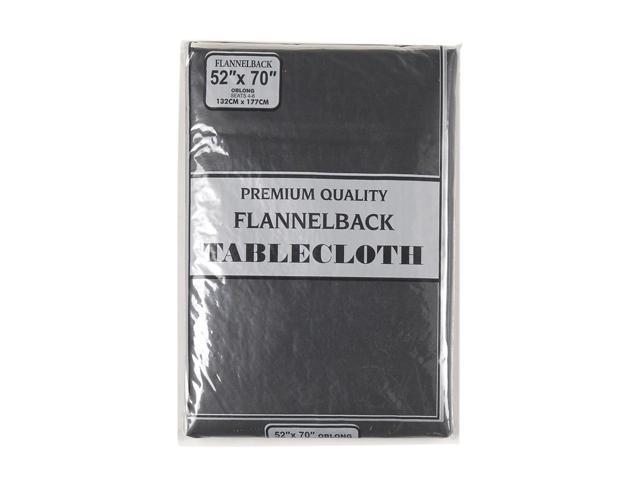 52'' x 70,'' Vinyl Tablecloth with Polyester Flannel Backing in Black