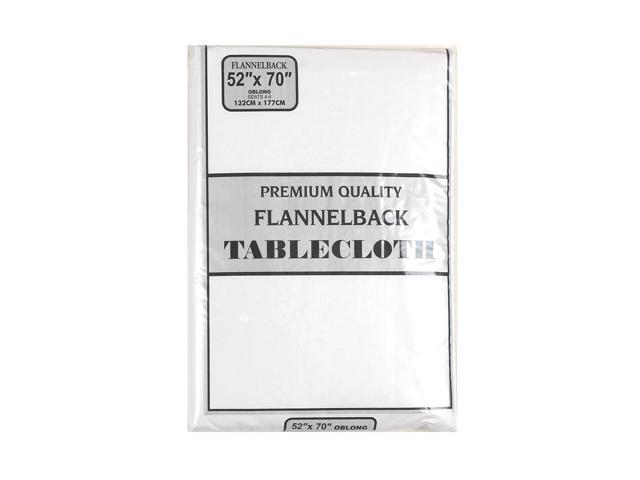 52'' x 70,'' Vinyl Tablecloth with Polyester Flannel Backing in White