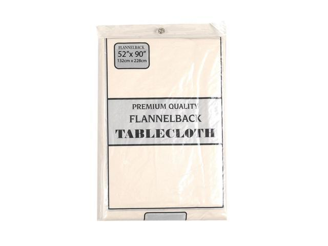 52'' x 90,'' Vinyl Tablecloth with Polyester Flannel Backing in Ivory