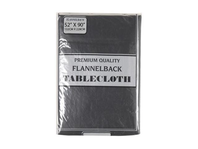 52'' x 90,'' Vinyl Tablecloth with Polyester Flannel Backing in Black