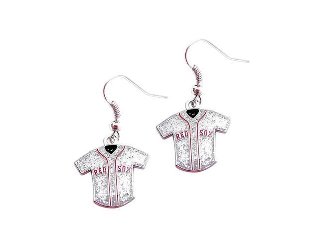 MLB Boston Red Sox Team Logo Glitter Jersey Earring Sports Fan Gift