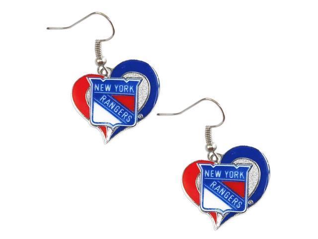 NHL New York Rangers Team Logo Swirl Heart Earring Sports Fan Gift