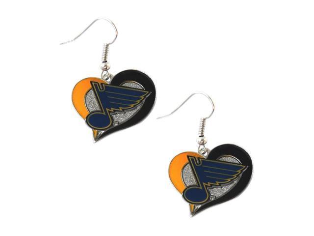 NHL St Louis Blues Team Logo Swirl Heart Earring Sports Fan Gift