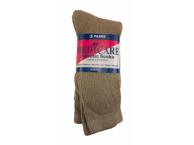 Sole Choice Diabetic Socks 3-pack Crew Khaki (10-13)