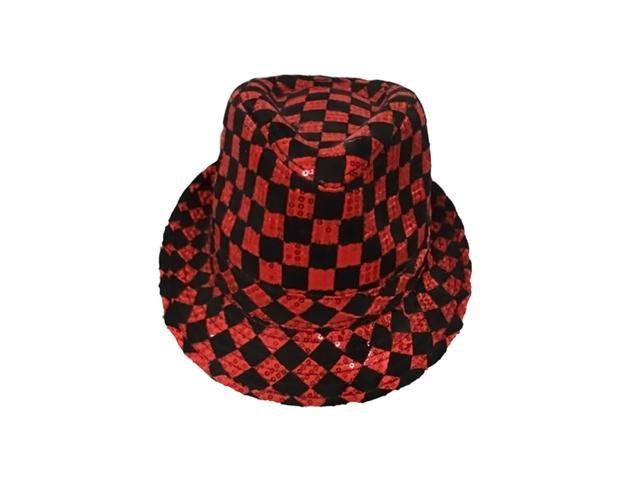 Dress Up America Halloween Costume Red Checkerboard Fedora Hat