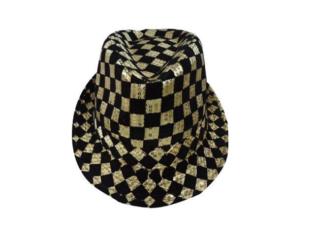 Dress Up America Halloween Costume Gold Checkerboard Fedora Hat