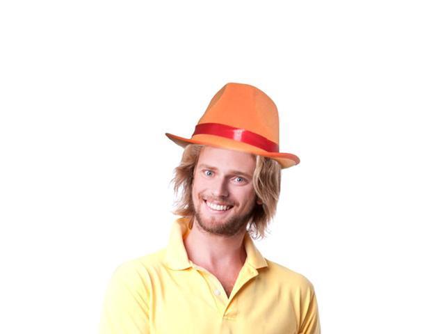 Dress Up America Halloween Costume Orange Fedora Hat