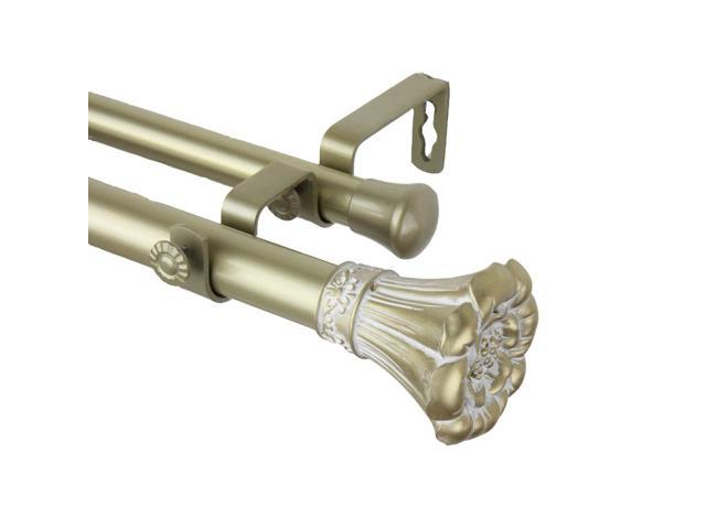 Rod Desyne Home Decorative Blossom Double Curtain Rod 48-84 inch - Light Gold