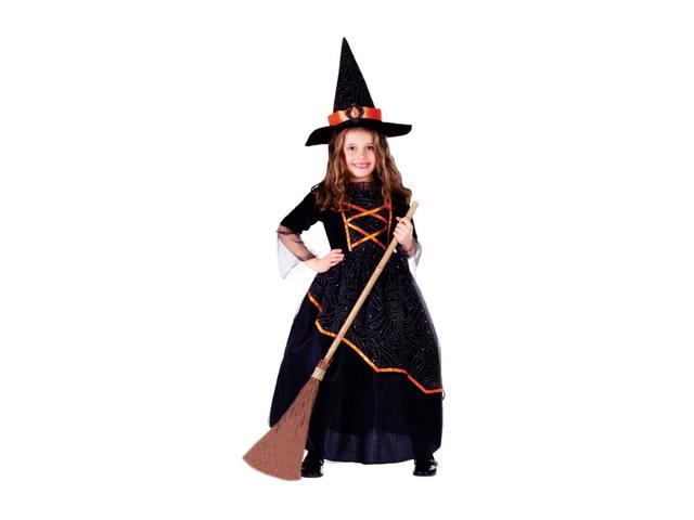 Dress Up America Halloween Party Costume Black & Orange Witch Size Small (4-6)