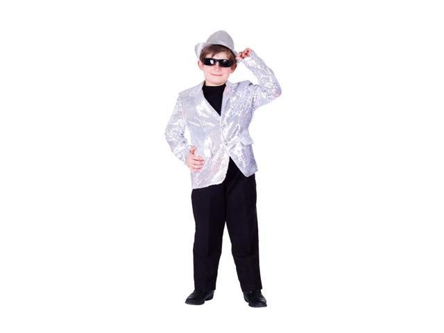 Dress Up America Halloween Party Costume Silver Sequined Blazer Size Extra Large (14-16)
