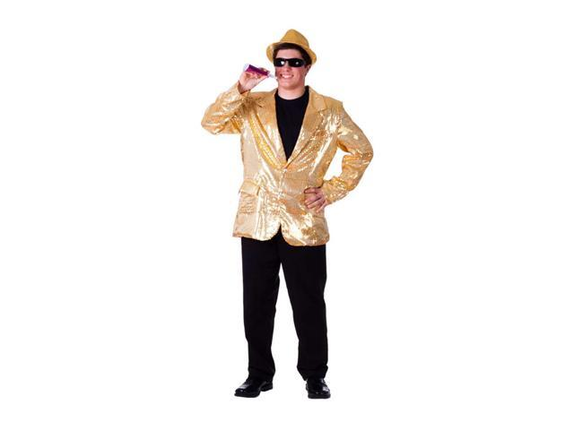 Dress Up America Halloween Party Costume Gold Sequined Blazer Size Adult Large