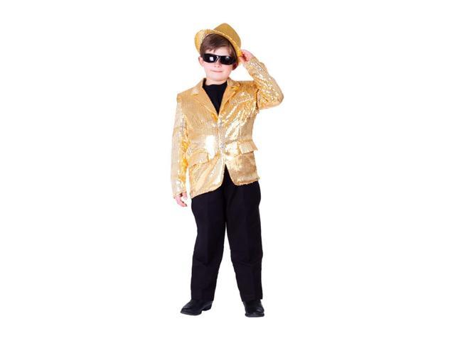 Dress Up America Halloween Party Costume Gold Sequined Blazer Size Extra Large (14-16)