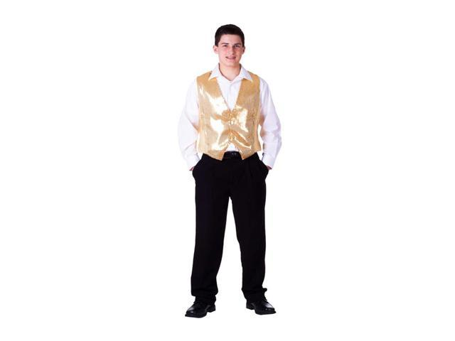 Dress Up America Halloween Party Costume Gold Sequined Vest Size Adult X-Large