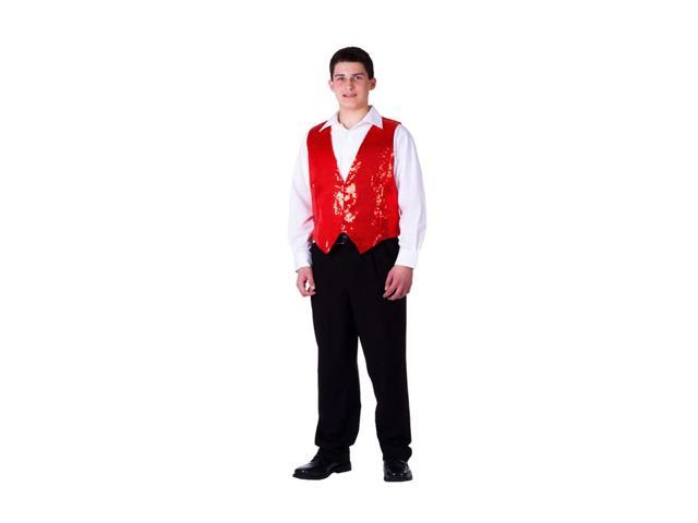 Dress Up America Halloween Party Costume Red Sequined Vest Size Adult Medium