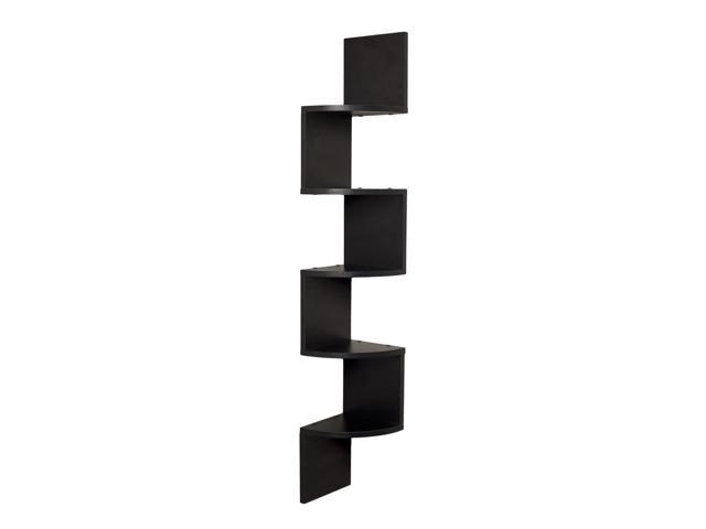 DanyaB Home Indoor Black Laminate Large Corner Wall Mount Shelf