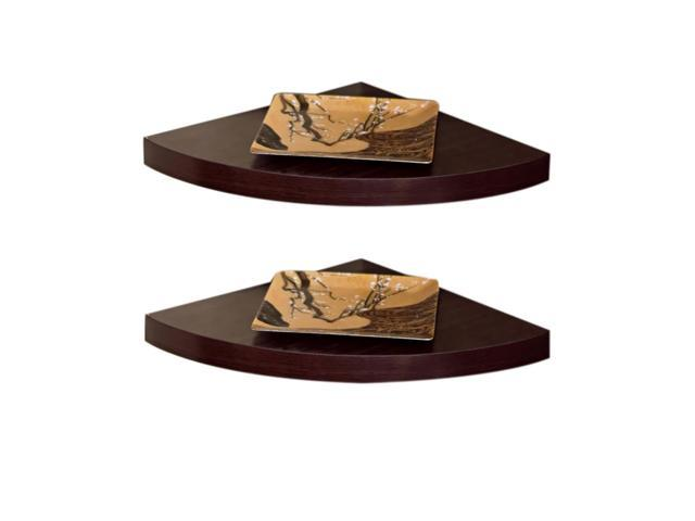 DanyaB Home Indoor Walnut Laminate Corner Radial Shelves (Set of 2)