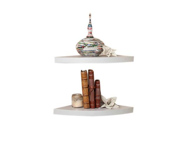 DanyaB Home Indoor White Veneer Corner Radial Shelves (Set of 2)