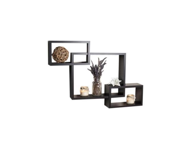 DanyaB Home Indoor Intersecting Espresso Wall Shelf