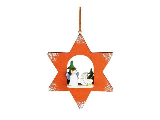 Christian Ulbricht Ornament - Angel In Red Star - 4H X 3.25W X 1D