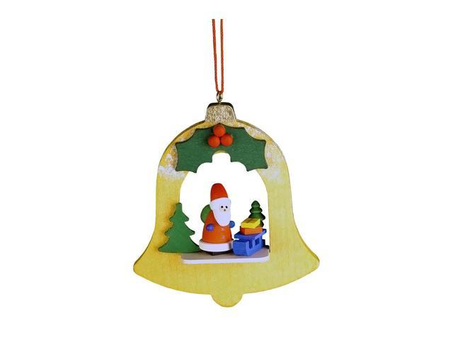 Christian Ulbricht Ornament - Santa In Yellow Bell - 3.5H X 2.75W X 1D